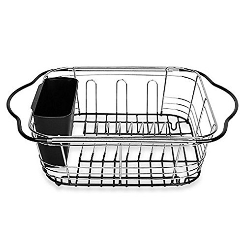 Small over Sink Dish Drainer with Utensil Holder