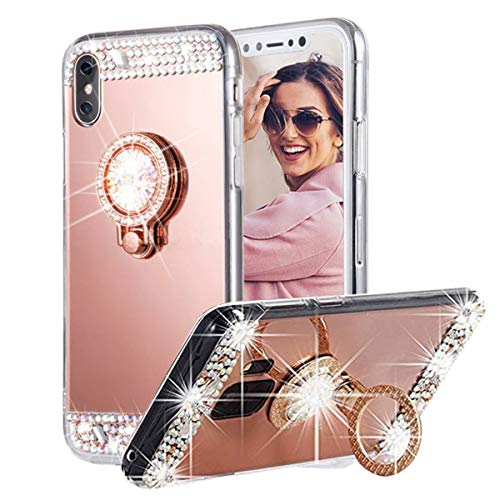 Gift_Source Huawei P9 Lite Funda, [Oro Rosa] Funda Suave de Silicona Cubierta TPU Caucho Case Efecto Espejo Caso Purpurina Brillante Carcasa con Soporte para Anillo para Huawei P9 Lite (5.2