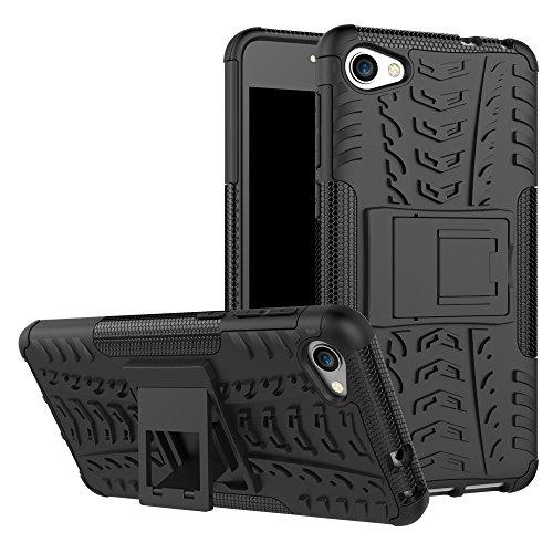 TiHen Handyhülle für Alcatel A5 LED Hülle, 360 Grad Ganzkörper Schutzhülle + Panzerglas Schutzfolie 2 Stück Stoßfest zhülle Handys Tasche Bumper Hülle Cover Skin mit Ständer -Schwarz
