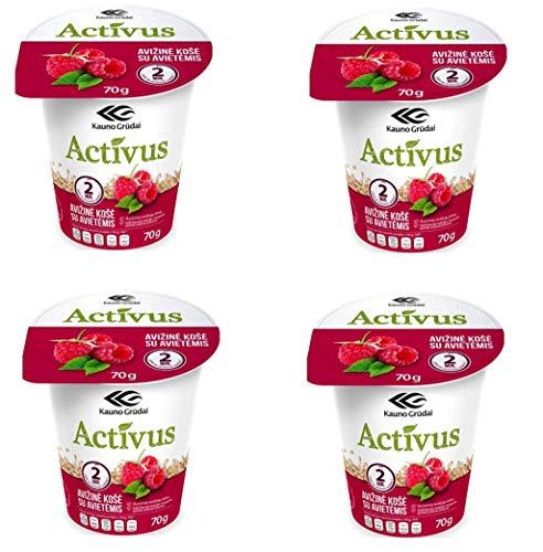 Activus Quick Preparation Gachas de avena sabor frambuesa, 70 g, paquete de 4