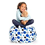 Stuffed Animal Storage Bean Bag Chair - Extra Large Stuff 'n Sit by Creative QT - Organization for Kids Toy Storage - Available in a Variety of Sizes and Colors (38', Grey/White Striped)