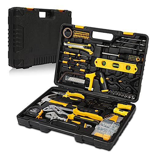 Tool Kit Set, 218 Pcs Hand Tools Kit with Socket, Hammer, Wrenches, Screwdriver Set, Pliers, Basic Tool Sets for Home DIY Car Motorbike Repair & Daily Maintenance