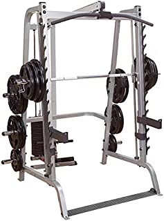 Body-Solid GS348Q Series 7 Smith Machine with Lat Attachment GLA348QS and Weight Stack