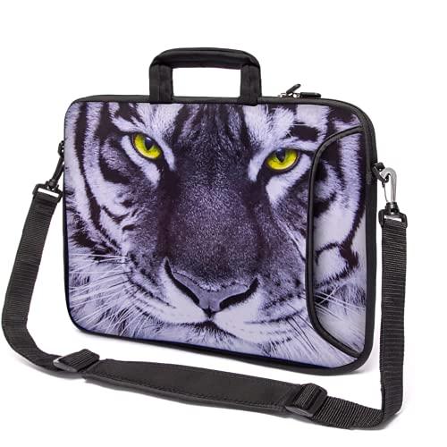 15' - 15,6' Pulgadas Bolsa Funda Protectora para el Hombro de Neopreno con asa y Correa para Portátiles Multicolor (Tiger)