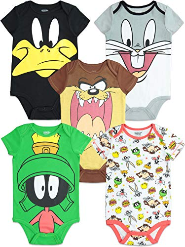 Warner Bros. Looney Tunes Newborn Baby Boy Girl 5 Pack Bodysuit (6-9 Months)