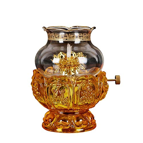 KMYX Oil Lamps for Indoor use with Glass Crystal Glass Lotus Light Holder Home Buddha Front Light Kerosene lamp Ultra Pure Paraffin lamp oilCandle Holder Lantern