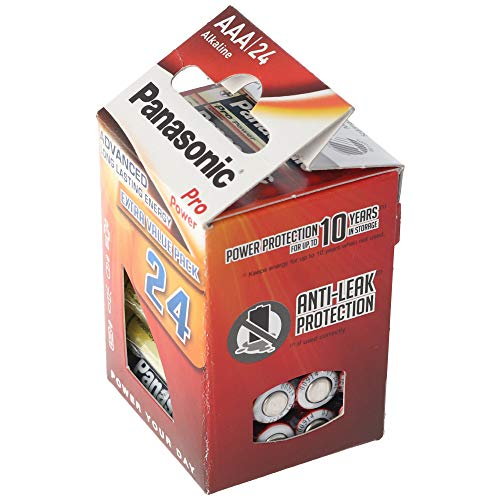 Panasonic Pro Power Alkali-Batterie, AAA Micro, 24er Pack, langanhaltende Energie für Geräte mit mittlerem bis hohem Energieverbrauch, Alkaline