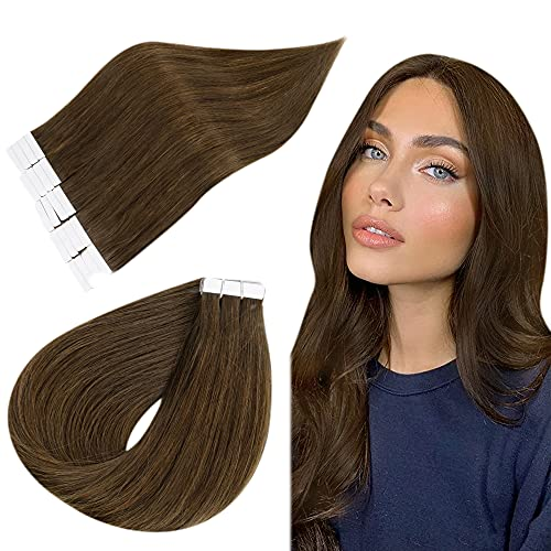 Easyouth Natural Adhesif Extensions Tape in Tissage Cheveux Humain Extensions Couleur Middle Brown 100% Remy Human Hair Extensions Skin Weft Glue in Hair 12pouces 60g 40Pcs