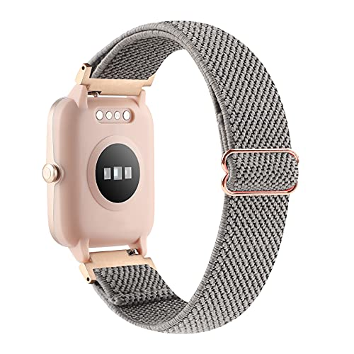 YONWORTH Adjustable Elastic Watch Band Compatible with Veryfitpro ID205L ID205S ID205 ID205U Smart Watch Bands, 19mm Stretchy Nylon Loop Strap Soft Wrist Bands for Women Men (Twill Gray)
