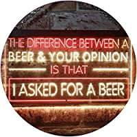 Difference is I Asked For a Beer Bar Dual Color LED看板 ネオンプレート サイン 標識 赤色 + 黄色 400 x 300mm st6s43-i3513-ry