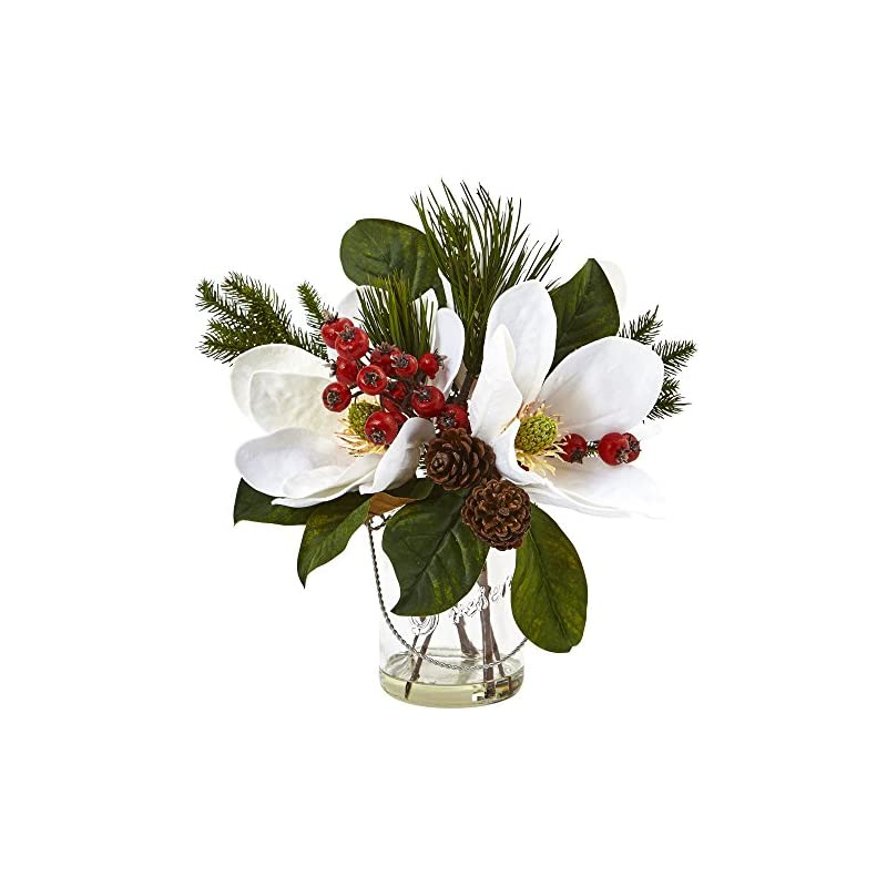 silk flower arrangements nearly natural 4548 magnolia, pine, and berry holiday arrangement in glass vase