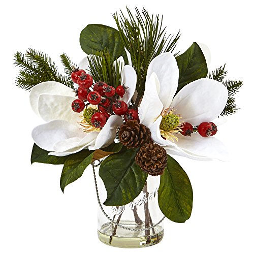 Nearly Natural 4548 Magnolia, Pine, and Berry Holiday Arrangement in Glass Vase