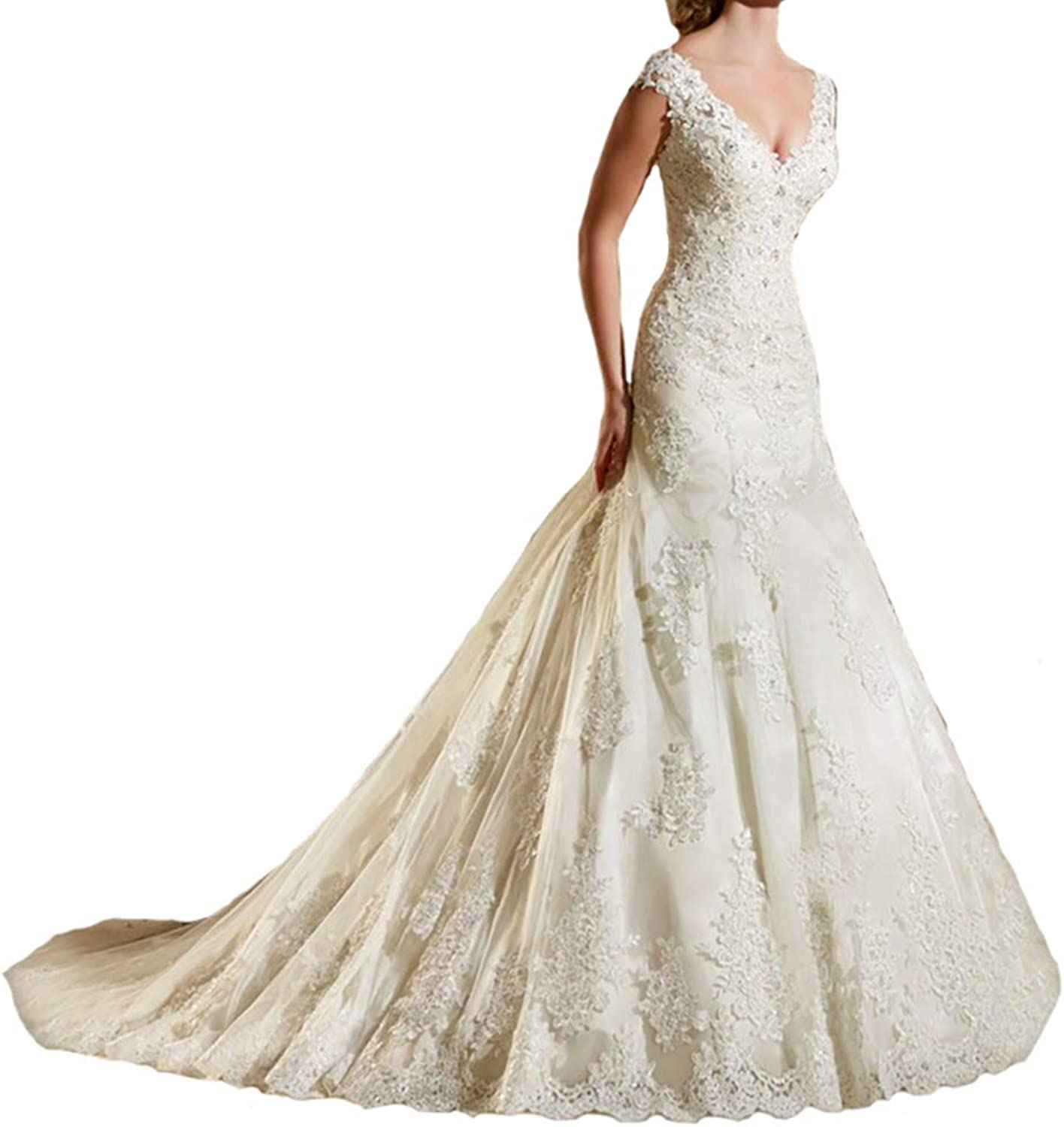 RYANTH Women's V Neck Lace Applique Wedding Dresses Long Beaded Mermaid Bridal Gowns