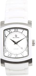 Casual Watch for Men by Olivera, White, Rectangle, OG1316