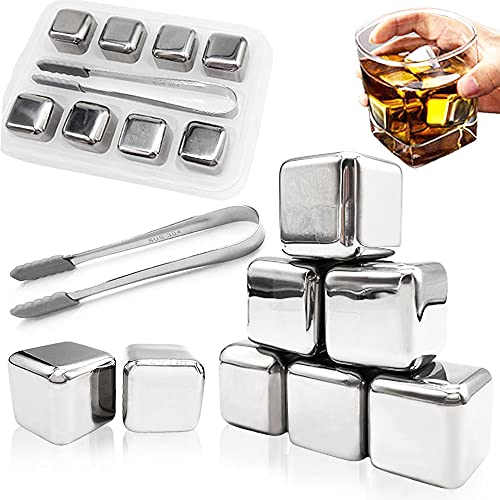 8 Pcs Stainless Steel Ice Cubes,Metal Chilling Stones,Reusable Metal Ice Cubes with Ice Tongs and Freezer Storage Tray for Whiskey,Juice,Soda,Wine,Beer,Vodka