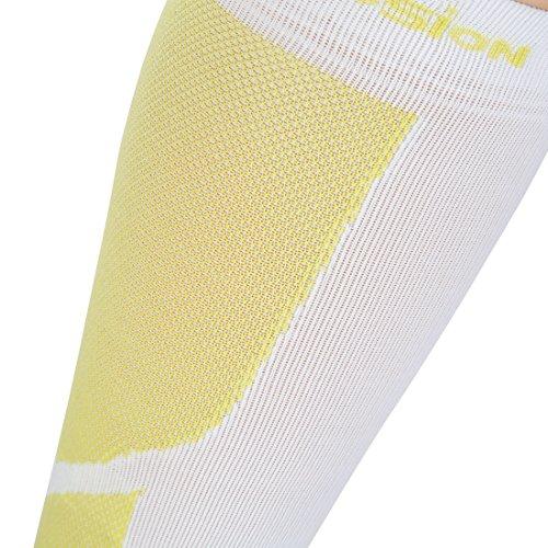 Ultrasport Kompressions-Beinlinge, Hochleistungs-Kompressions-Wadenschoner Level 23-32 mmHg: Beinstulpen für intensiven Laufsport, Weiß/Grün, 25-31 - 6