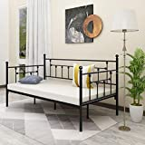 Alazyhome Metal Daybed Frame Twin Size Platform No Box Spring Needed with Vintage Headboard and Footboard Premium Steel Slat Support Mattress Foundation Black