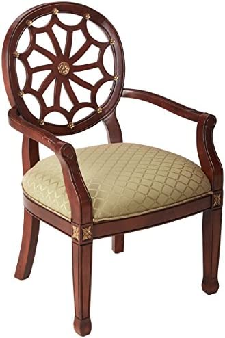 Best Powell Spider Web Back Accent Chair, Mahogany, Soft Gold