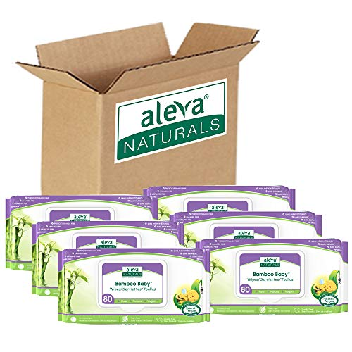 Aleva Naturals Bamboo Baby Wipes | Perfect for Sensitive Skin | Extra Strong and Ultra Soft | Natural and Organic Ingredients | Certified Vegan | 6 packs of 80ct – Total of 480ct (37944)