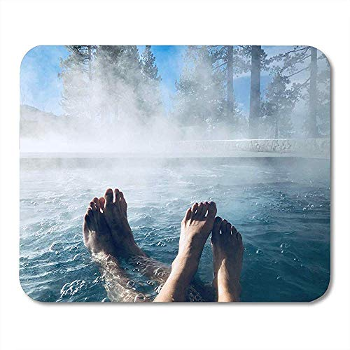 Paare Füße im Whirlpool Whirlpool im Freien Nebel Lustige Druck Anti-Rutsch-Gaming-Pads 30x25cm