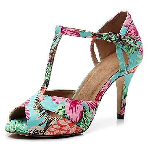 JUODVMP Zapatos de Baile Latino para Mujer con Correa en T Sandalias de Baile de Salsa para Fiestas de salón de Baile Tacón Latino Baile,Modello VE-QJW-T002-Azul-8.5CM, 36 EU