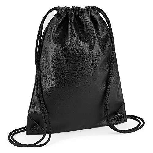 BagBase - Mochila de piel sintética Gymsac (Talla Única/Negro)