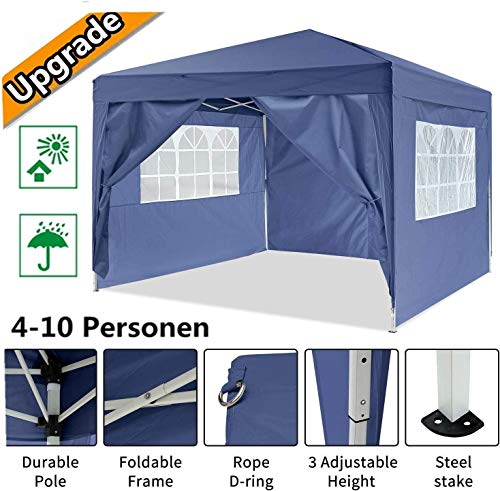 Oppikle 3x3m /3x6m Garden Gazebo Marquee Tent with Side Panels, Fully Waterproof, Powder Coated Steel Frame for Outdoor Wedding Garden Party (3 * 3/m Blue)