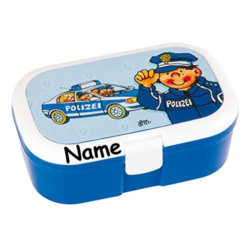 Lunchbox * Polizei Plus Wunschname * für Kinder von Lutz Mauder // Polizist Brotdose mit Namensdruck // Perfekt für Mädchen & Jungen // Vesperdose Brotzeitbox Brotzeit (mit Namen)