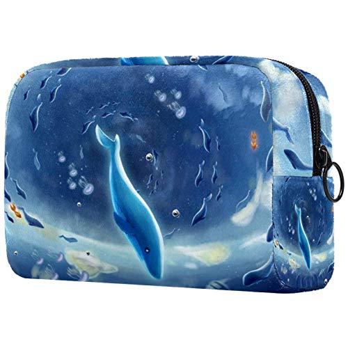化粧トイレタリーバッグ 女性のための財布化粧品旅行キットオーガナイザー,白鯨