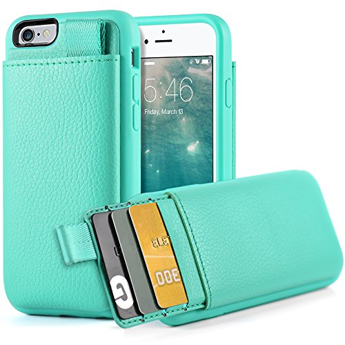 LAMEEKU iPhone 6S Wallet Case, iPhone 6 Leather Case, Shockproof Wallet Cover Leather Wallet Case with Credit Card Slot Holder, Protective Cover Compatible for Apple iPhone 6 / 6S 4.7'' - Mint Green