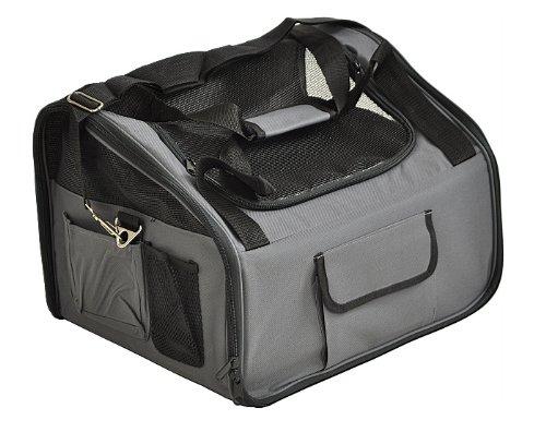 nanook Faltbare Transporttasche für kleine Hunde, Katzen und Nager, Tragetasche mit Gurt für Tiertransport im Auto, Haustier-Rucksack, 43 x 37 cm