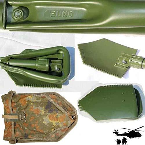 bund Original Bundeswehr Klappspaten, Spaten, mit Flecktarnhülle Aluminium BW Spaten
