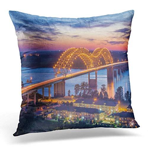 Hangdachang Throw Pillow Cover Skyline Memphis Tennessee USA at Hernando De Soto Bridge Funda de Alm