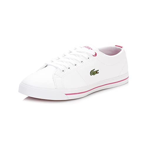 90ca1b1e5 Lacoste Junior Girls Riberac Trainers in White Pink- Lace Fastening- Tonal