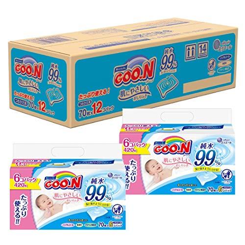 [Case Sale ]GOO.N Hada ni Yasashii Baby Wipe Replacement 70 eachx12 packs(840 each)