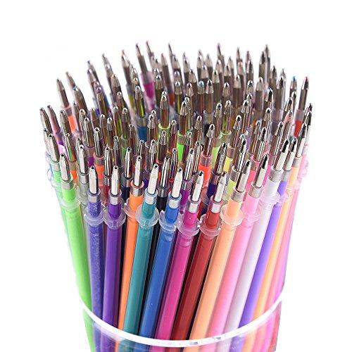 130 Colors Gel Pen Refills - Glitter Metallic Pastel Fluorescence Neon, Pen Ink Refills for Adult Coloring Books, Scrapbooking, Drawing