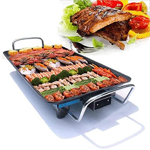 Parrilla eléctrica de la mesa de la mesa eléctrica, la parrilla Teppanyaki, la plancha de la barbacoa no paliza de temperatura ajustable, 1500W de interior o hacia fuera (L, 68x28cm)