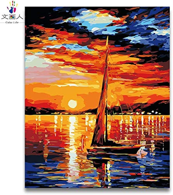 servicio honesto KYKDY Bricolaje para Colorar Colorar Colorar por números Imágenes de la serie Sunrise de imagen marina abstracta Imágenes por mar de números con dibujo de Colors enmarcado para adultos, 10088,50x40 con marco  Venta barata