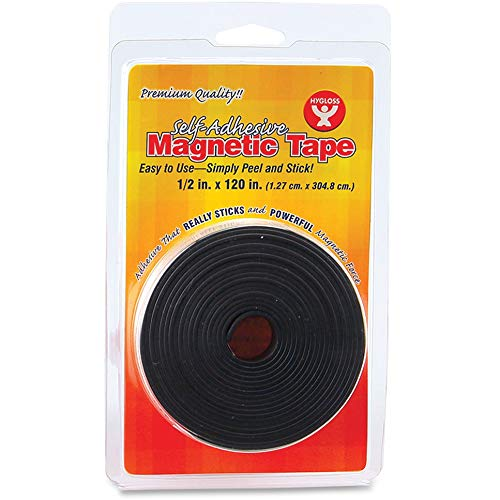 Hygloss Products - 61410 , Inc. Magnetic Tape, Self- Adhesive, 1/2-Inch x 120-Inch Black