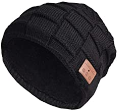 Stretchy Bluetooth Beanie Thicker Knit Winter Music Hat Wireless Smart Men & Women Fasion Caps with Stereo Headset Fit for Outdoor/Indoor Sports Gifts (Black 2#)