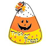 Funnlot Halloween Decor Candy Corn Door Decor Trick or Treat Wreath Hanging Sign Indoor Outdoor Wall Decorations Sign Hanger for Halloween Party Supplies Decorations