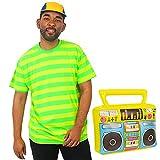 Bel Air Prince - Disfraz de disfraz de béisbol amarillo neón y verde con diseño de rayas + gorro de béisbol amarillo y azul + caja hinchable para adultos de los años 90 (tamaño mediano)