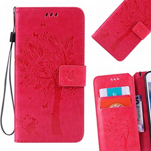 LEMORRY Handyhülle für Huawei Ascend Mate7 Hülle Tasche Geprägter Ledertasche Beutel Schutz Magnetisch Schließung SchutzHülle Weich Silikon Cover Schale für Huawei Ascend Mate7, Glücklicher Baum Pink