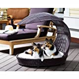 The Refined Canine Outdoor Dog Chaise Bed w/ Shade Hood, Waterproof Poly Rattan Lounger with Washable Cushion