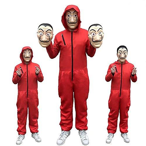 Cosplay bambini adulti La Casa De Papel Costume Dali Dali Rosso One Piece grande rosso tuta maschera costume/Halloween costume/festa vestire