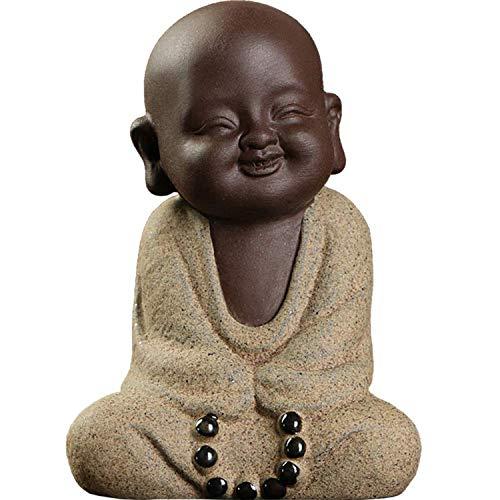 Siunwdiy Ceramic Tiny Cute Buddha Statue Monk Figurine Creative Baby Buddha Crafts Dolls Ornaments Gift Classic Delicate Ceramic Arts and Crafts Tea Accessories Small,E
