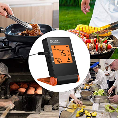 Wireless Grill Thermometer, Morpilot Bluetooth Wifi BBQ Digital Thermometer/Meat Thermometer/Smoker Thermometer with 4 Probes for Grilling Smoking Oven Kitchen