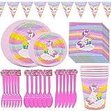 Unicorno Party Set, JPYH 47PCS Decorazioni Compleanni Unicorno Set Articoli per Feste Unicorno,Kit Stoviglie USA e Getta Compleanni Unicorno per Bambini Ragazze di Compleanno