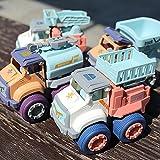 Pull Back Cars Friction Powered Cars Juego de 4 piezas Vehículos de construcción Juego de juguetes Camión volquete Camión de rescate Camión de rescate para bebés de 1 2 3 años Regalo para niños pequeñ