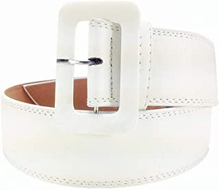 GLJJQMY Women's Leather Wide Belt with Simple Coat Decoration, Multiple Colors Ladies Belt (Color : White)